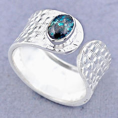 1.57cts solitaire natural chrysocolla 925 silver adjustable ring size 7.5 t47370