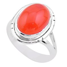 6.04cts solitaire natural cornelian (carnelian) 925 silver ring size 7 t45973