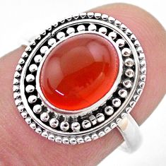 4.18cts solitaire natural cornelian (carnelian) 925 silver ring size 7 t46114