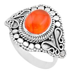 4.38cts solitaire natural cornelian (carnelian) 925 silver ring size 8 t20224