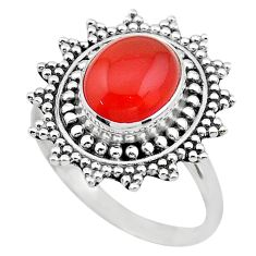 4.52cts solitaire natural cornelian (carnelian) 925 silver ring size 8 t20242