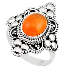 4.22cts solitaire natural cornelian (carnelian) 925 silver ring size 8 t20263