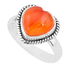 5.11cts heart cornelian (carnelian) 925 silver handmade ring size 8 t21783