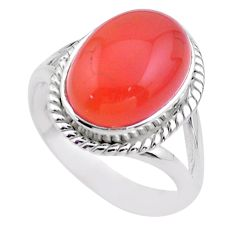 6.48cts solitaire natural cornelian (carnelian) 925 silver ring size 8 t45942