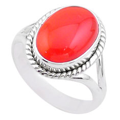 6.49cts solitaire natural cornelian (carnelian) 925 silver ring size 8 t45943