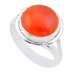 6.74cts solitaire natural cornelian (carnelian) 925 silver ring size 8 t45956
