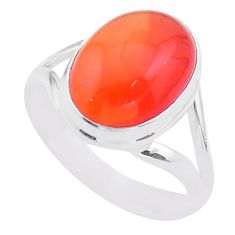 6.57cts solitaire natural cornelian (carnelian) 925 silver ring size 8 t45962