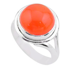 6.74cts solitaire natural cornelian (carnelian) 925 silver ring size 8 t45979