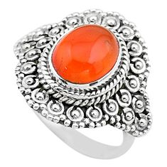 4.27cts solitaire natural cornelian (carnelian) 925 silver ring size 6.5 t20123