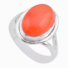 7.07cts solitaire natural cornelian (carnelian) 925 silver ring size 8.5 t45941
