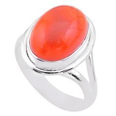 6.56cts solitaire natural cornelian (carnelian) 925 silver ring size 7.5 t45967