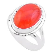 6.36cts solitaire natural cornelian (carnelian) 925 silver ring size 6.5 t45972