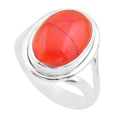 6.51cts solitaire natural cornelian (carnelian) 925 silver ring size 7.5 t45974