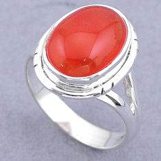6.36cts solitaire natural cornelian (carnelian) 925 silver ring size 7.5 t47480