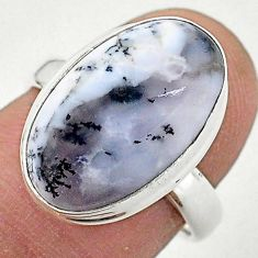 7.97cts solitaire natural dendrite opal (merlinite) 925 silver ring size 7 t3507