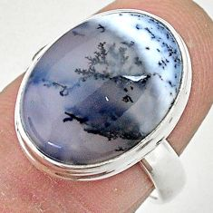 9.90cts solitaire natural dendrite opal (merlinite) 925 silver ring size 7 t3516