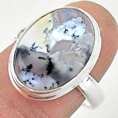 10.29cts solitaire natural dendrite opal (merlinite) silver ring size 8 t3519
