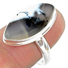 13.15cts solitaire natural dendrite opal (merlinite) silver ring size 8 t39197