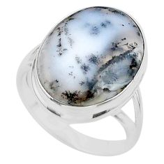 13.87cts solitaire natural dendrite opal (merlinite) silver ring size 9 t24689