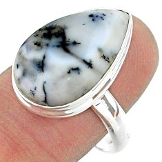 13.15cts solitaire natural dendrite opal (merlinite) silver ring size 9 t39155