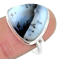 11.06cts solitaire natural dendrite opal (merlinite) silver ring size 9 t39199
