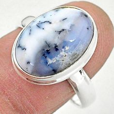 7.71cts solitaire natural dendrite opal (merlinite) silver ring size 8.5 t3513