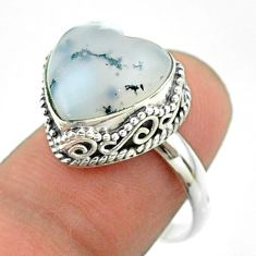 6.31cts solitaire natural dendrite opal (merlinite) silver ring size 7.5 t55909