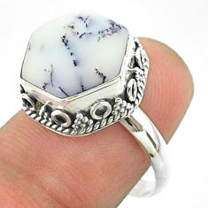 6.31cts solitaire natural dendrite opal 925 silver hexagon ring size 7.5 t55901