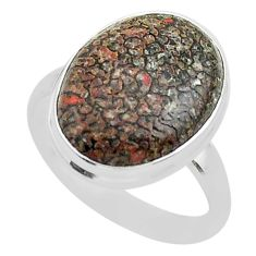 13.09cts solitaire natural dinosaur bone fossilized silver ring size 10 t39065
