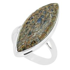 13.87cts solitaire natural dinosaur bone fossilized silver ring size 6 t39074