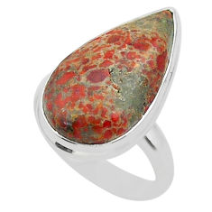 12.96cts solitaire natural dinosaur bone fossilized silver ring size 7 t39064