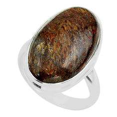 13.77cts solitaire natural dinosaur bone fossilized silver ring size 7 t39086