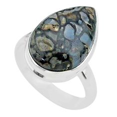 12.60cts solitaire natural dinosaur bone fossilized silver ring size 8 t39072