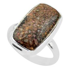 11.54cts solitaire natural dinosaur bone fossilized silver ring size 8 t39078