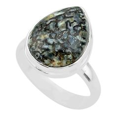 10.33cts solitaire natural dinosaur bone fossilized silver ring size 8 t39089