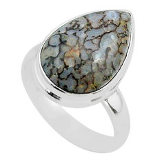12.10cts solitaire natural dinosaur bone fossilized silver ring size 8 t39090