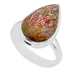 10.78cts solitaire natural dinosaur bone fossilized silver ring size 8 t39106
