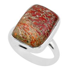 13.28cts solitaire natural dinosaur bone fossilized silver ring size 9 t39076