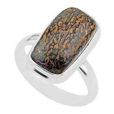10.24cts solitaire natural dinosaur bone fossilized silver ring size 9 t39079