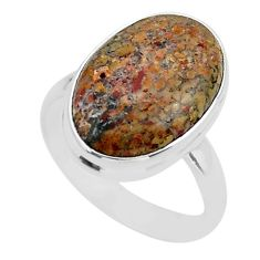 12.52cts solitaire natural dinosaur bone fossilized silver ring size 9 t39084