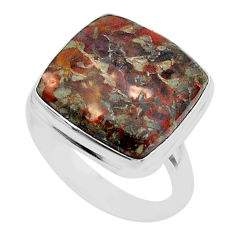 12.85cts solitaire natural dinosaur bone fossilized silver ring size 9 t39102
