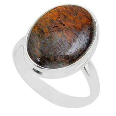 13.27cts solitaire natural dinosaur bone fossilized silver ring size 9 t39103