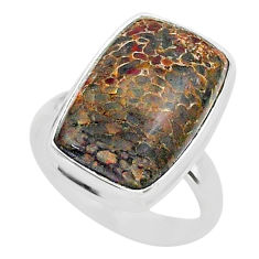 10.80cts solitaire natural dinosaur bone fossilized silver ring size 6.5 t39075