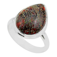 10.78cts solitaire natural dinosaur bone fossilized silver ring size 7.5 t39088