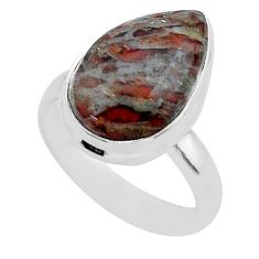 7.50cts solitaire natural dinosaur bone fossilized silver ring size 6.5 t39091