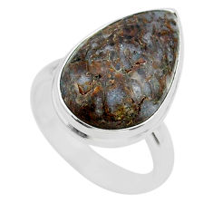 13.70cts solitaire natural dinosaur bone fossilized silver ring size 7.5 t39107