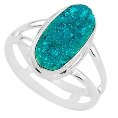 4.67cts solitaire natural dioptase 925 sterling silver ring jewelry size 7 t3285