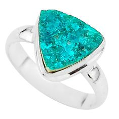 4.71cts solitaire natural dioptase 925 sterling silver ring jewelry size 8 t3265