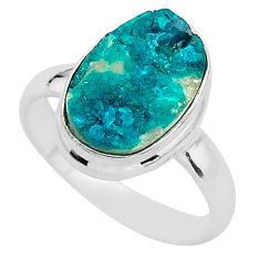 5.81cts solitaire natural dioptase 925 sterling silver ring jewelry size 8 t3290