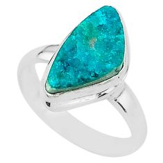 5.81cts solitaire natural dioptase 925 sterling silver ring jewelry size 8 t3317